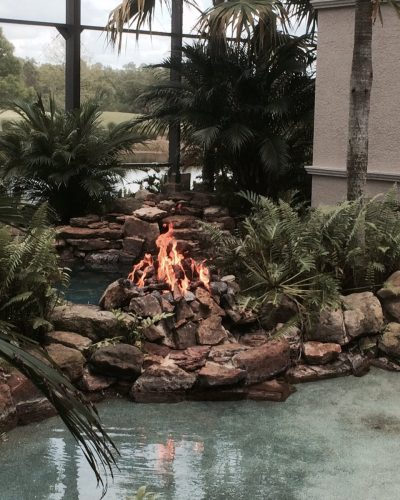 Fire Accent on Pool | Jacobs Total Gas Services - Expert Propane & Natural Gas Installation Services in Naples, Marco Island, Bonita Springs & Estero